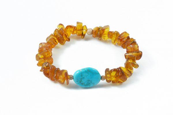 Bracciale ambra turchese naturale BR8118