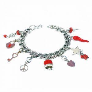 Bracciale donna maglia grossa argento e charm in corallo rosso BR3019