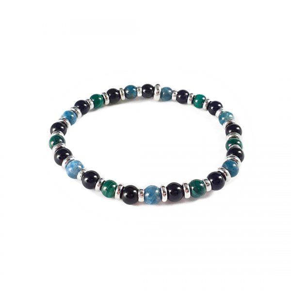 Bracciale elastico da uomo con pietre agata nera, malachite verde e apatite azzurra BR8019