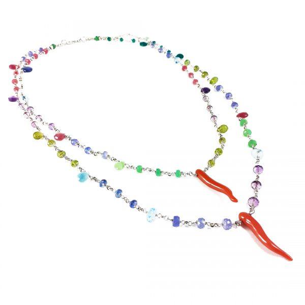 Collana donna girocollo pietre colorate e corallo G0419