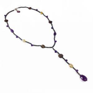 Collana donna girocollo con pendente in ematite I13818