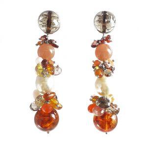 Orecchini pendenti in ambra, perle e adularia OR12619
