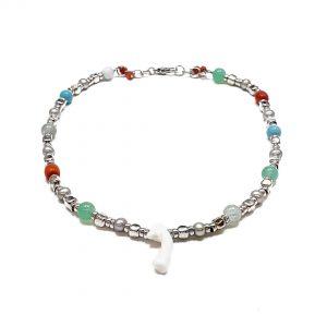 Collana girocollo argento, pietre colorate e ramo corallo bianco centrale G13319