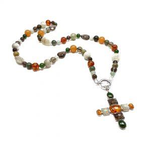 Collana donna in pietre colorate con pendente a croce e argento I0620