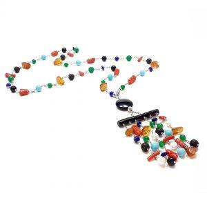 Collana lunga da donna con pietre colorate, pendente chandelier colorato e argento I1220