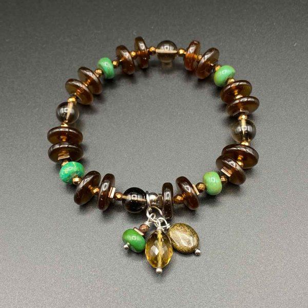 Bracciale elastico da donna in melange ambra, turchese verde e argento BR10120