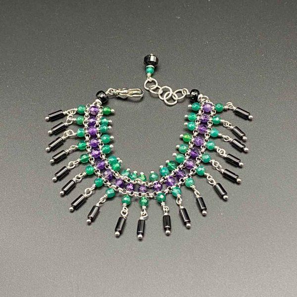 Bracciale chandelier donna in agata, ametista e argento BR9920