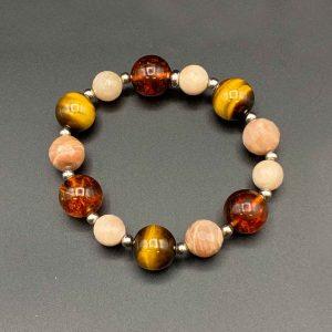 Bracciale elastico da donna in ambra, occhio di tigre, adularia e argento BR10320