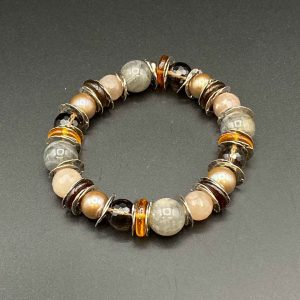 Bracciale elastico perle, adularia e argento BR9520