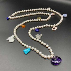 Collana lunga in perle, turchese, lapis, Madreperla e Argento I10520