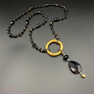 Collana donna in agata nera, ematite oro, bamboo e argento I12920