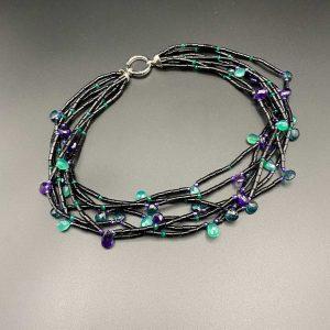 Collana girocollo, 7 fili in cannette di agata nera I13720