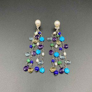 Orecchini chandelier Turchese Lapis Topazio Perle Ametista e Argento OR10220