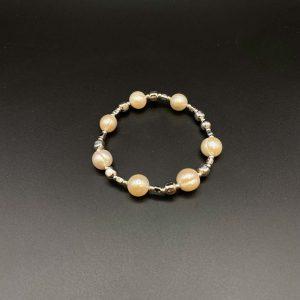 Bracciale elastico da donna con 10 perle e argento BR115bis