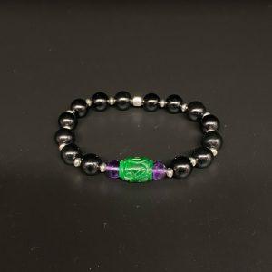 Bracciale elastico da uomo in agata nera, ametista e giada verde BR7420