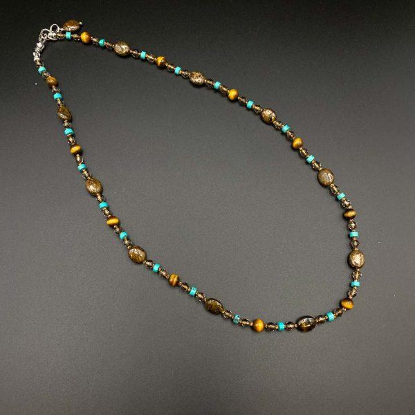 Collana girocollo uomo in Bronzite, Occhio di tigre, Quarzo fumé, Aulite e argento I14620