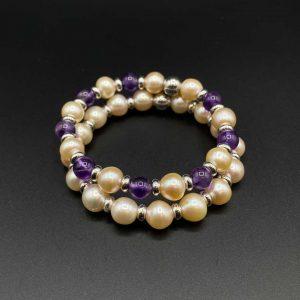 Coppia di bracciali elastici da donna in perle e ametista