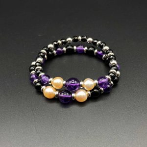 Coppia bracciali elastici da donna in agata nera, ametista, perle e argento