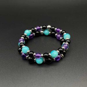 Coppia bracciali elastici da donna in agata nera, ametista, amazzonite e argento