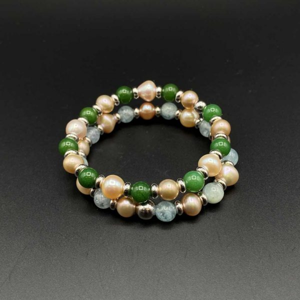 Coppia di bracciali elastici da donna in acquamarina, giada verde e perle