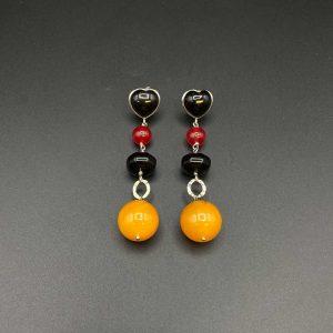 Orecchini pendenti in ambra mélange, agata nera e bordeaux e argento rodiato OR13220