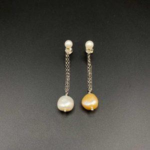 Orecchini pendenti con perle barocche e argento OR12220
