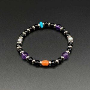 Bracciale elastico da uomo in Agata nera, corallo, turchese e ametista BR15320