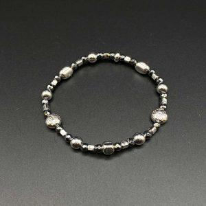 Bracciale elastico da uomo in ematite e argento BR0621