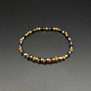 Bracciale elastico da uomo in occhio di tigre, agata nera e argento BR0521