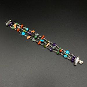 Bracciale donna a 3 fili in argento e pietre colorate BR0821