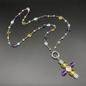 Collana lunga da donna con ciondolo croce in acquamarina, citrino, ametista, perle e argento I15020