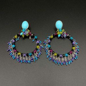 Orecchini cerchio chandelier in turchese, spinello, giada colorata e argento OR3920