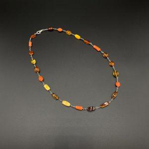 Collana artigianale girocollo uomo in ambra e corallo del mediterraneo G8321