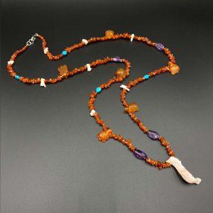 Collana lunga da uomo in ametista, corniola, turchese e corallo - I5819