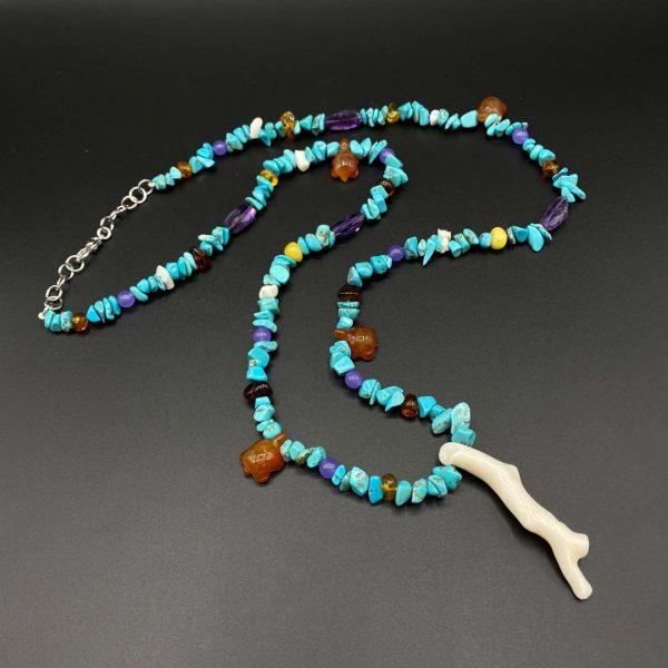 Collana lunga da uomo in aulite, corniola, ametista, giada e corallo - G2821