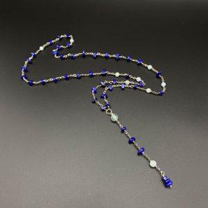 Collana lunga da uomo con pendente in lapis, acquamarina e argento placcato platino I9721