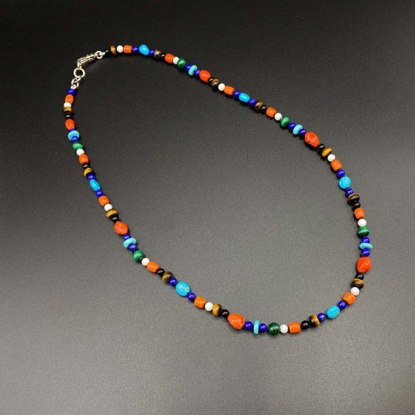 Collana girocollo uomo in corallo, lapis, malachite, agata e argento I6421