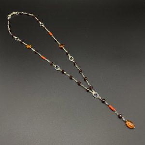 Collana da uomo girocollo + pendente in ambra del Baltico, Corallo del Mediterraneo, granato e argento G9621