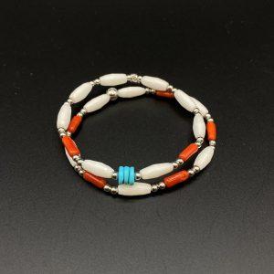Coppia di bracciali elastici da donna in corallo, agata, turchese e argento BR6721 - BR6821