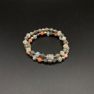 Coppia di bracciali elastici donna in labradorite, zirconi, agata e argento BR6521 - BR6621