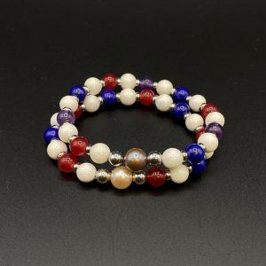 Coppia di bracciali elastici da donna in lapis, agata, perle, ametista e argento placcato platino BR7021 - BR7121