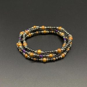 Tris di bracciali elastici da donna in ematite, perle d'acqua dolce e ametista e argento