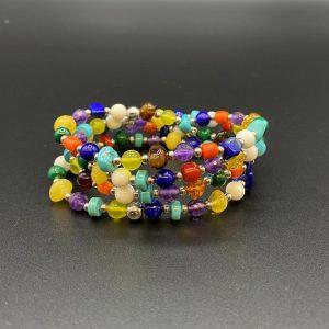 Bracciali elastici pietre colorate e argento BR5321